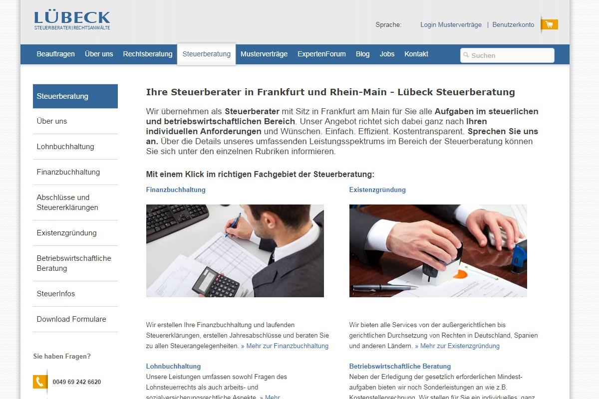 Website von Lübeck Steuerberater aus FRankfurt