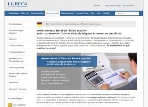 Screenshot der Seite Steuerberatung in Spanisch von LÜBECK