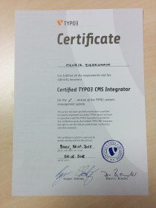 Zertifikat TYPO3 CMS Integrator