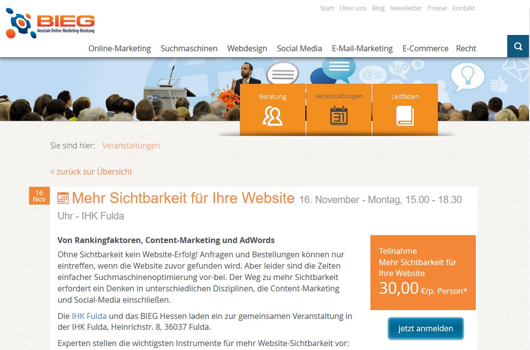 """Bieg-Vortrag """"Mehr Sichtbarkeit für Ihre Website"""""""