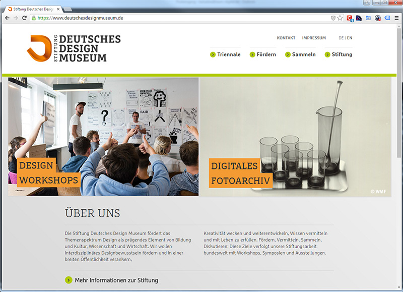 Website Stiftung Deutsches Design Museum