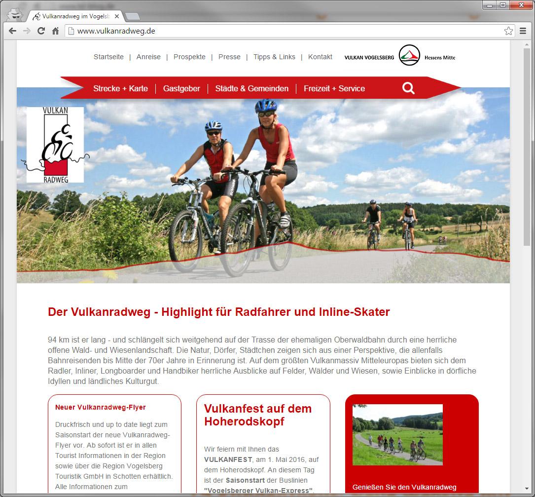 Screenshot Vulkanradweg Webseite