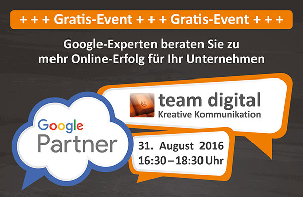 Google Partner Gratis Event bei team digital
