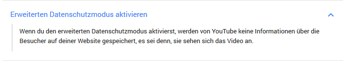 YouTube datenschutz Hinweistext
