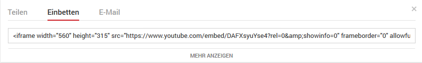 YouTube Video einbetten