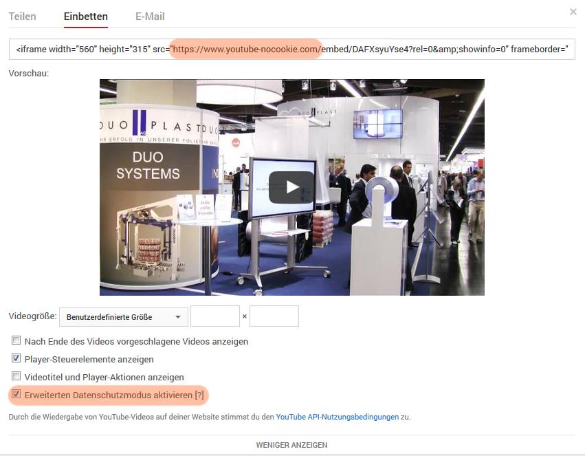 YouTube Video einbetten - Einstellungen: erweiterter Datenschutz