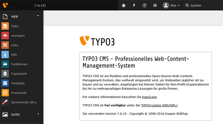 TYPO3 7.6 Backend