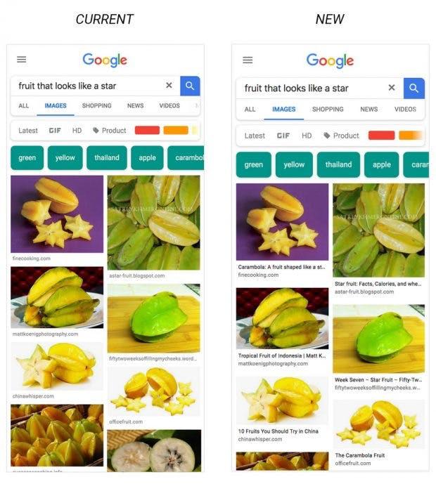Google-Bildersuche mit Unterschriften