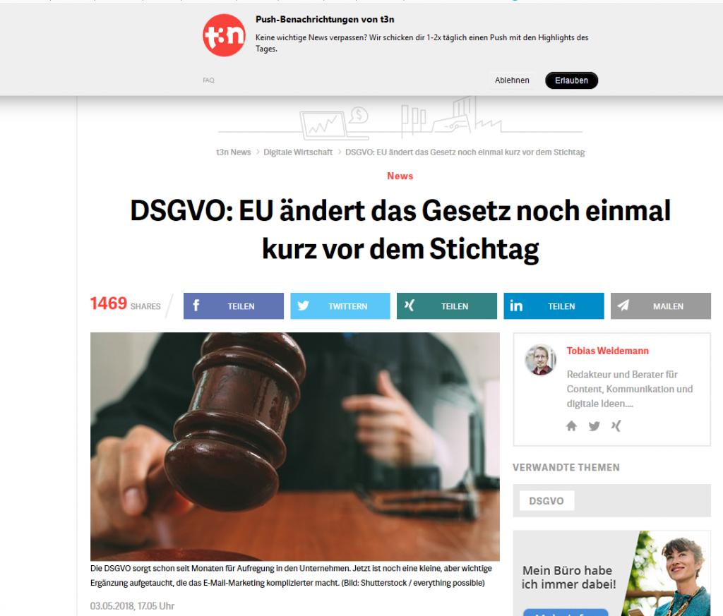 Wichtige Änderungen an der DSGVO