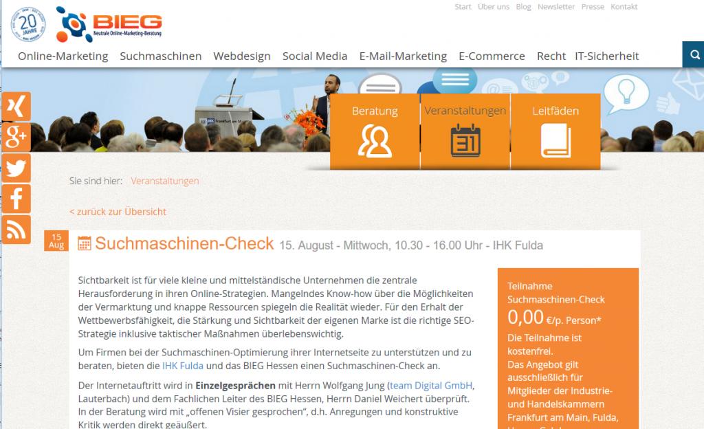 Der Suchmaschiinen-Check des BIEG am 15.08. in Fulda. Jetzt anmelden...