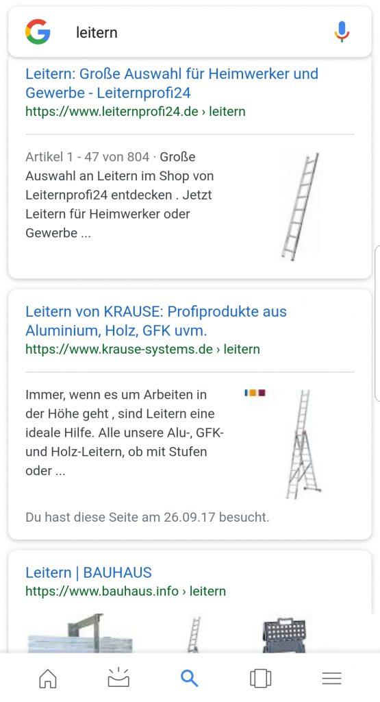 Mobile Suche zeigt Vorschaubild