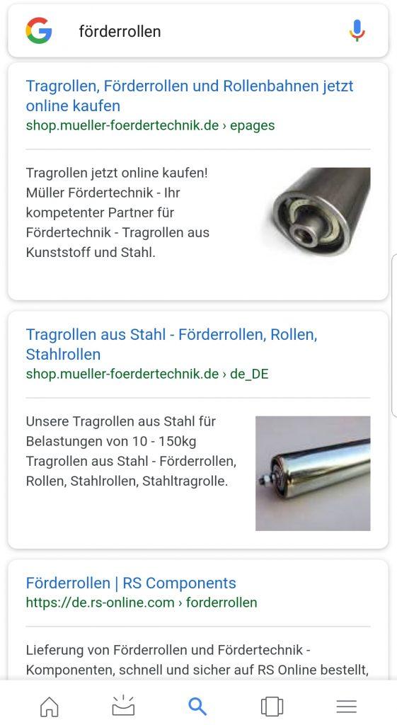 Vorschaubild in der mobilen Google-Suche