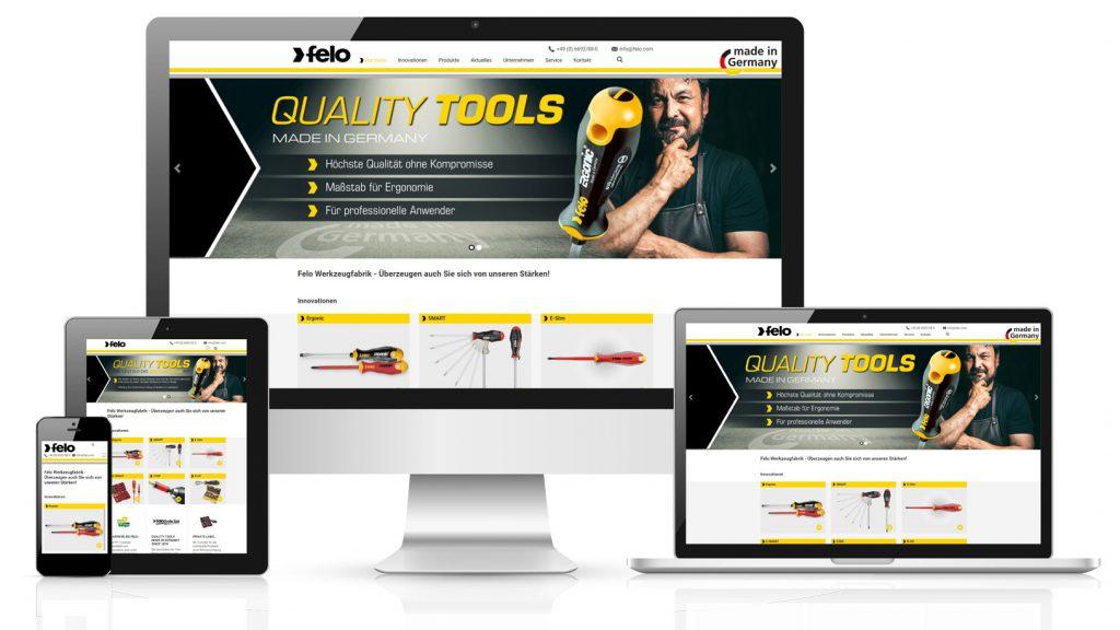 Felo Vorschau der Website auf verschiedenen Geräten