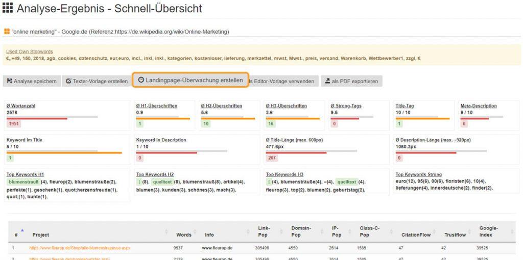 WDF*IDF-Analyse mit SEOlyze.DE