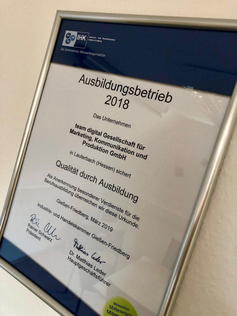 Die Ausbildungsurkunde für die team digital GmbH und das Jahr 2018.