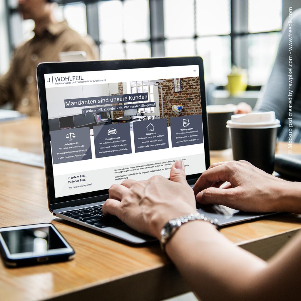 Kanzlei Wohlfeil, die neue Webseite aus dem Haus team digital GmbH